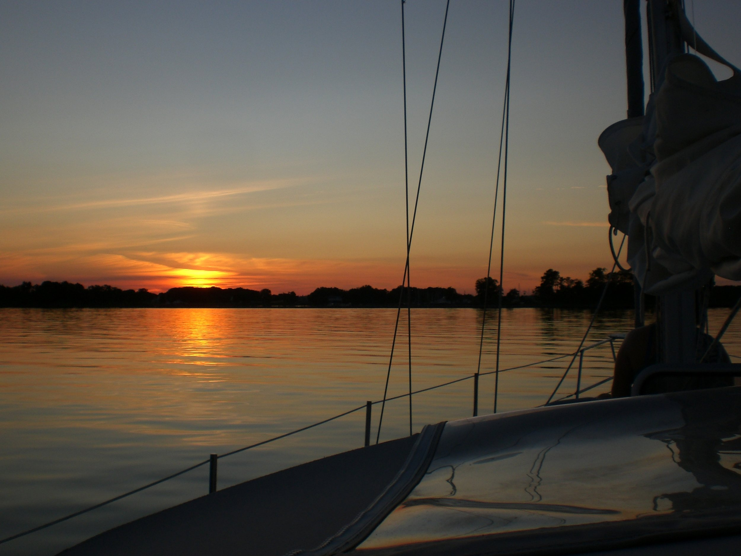 Sunset from a sailboat on the Bay