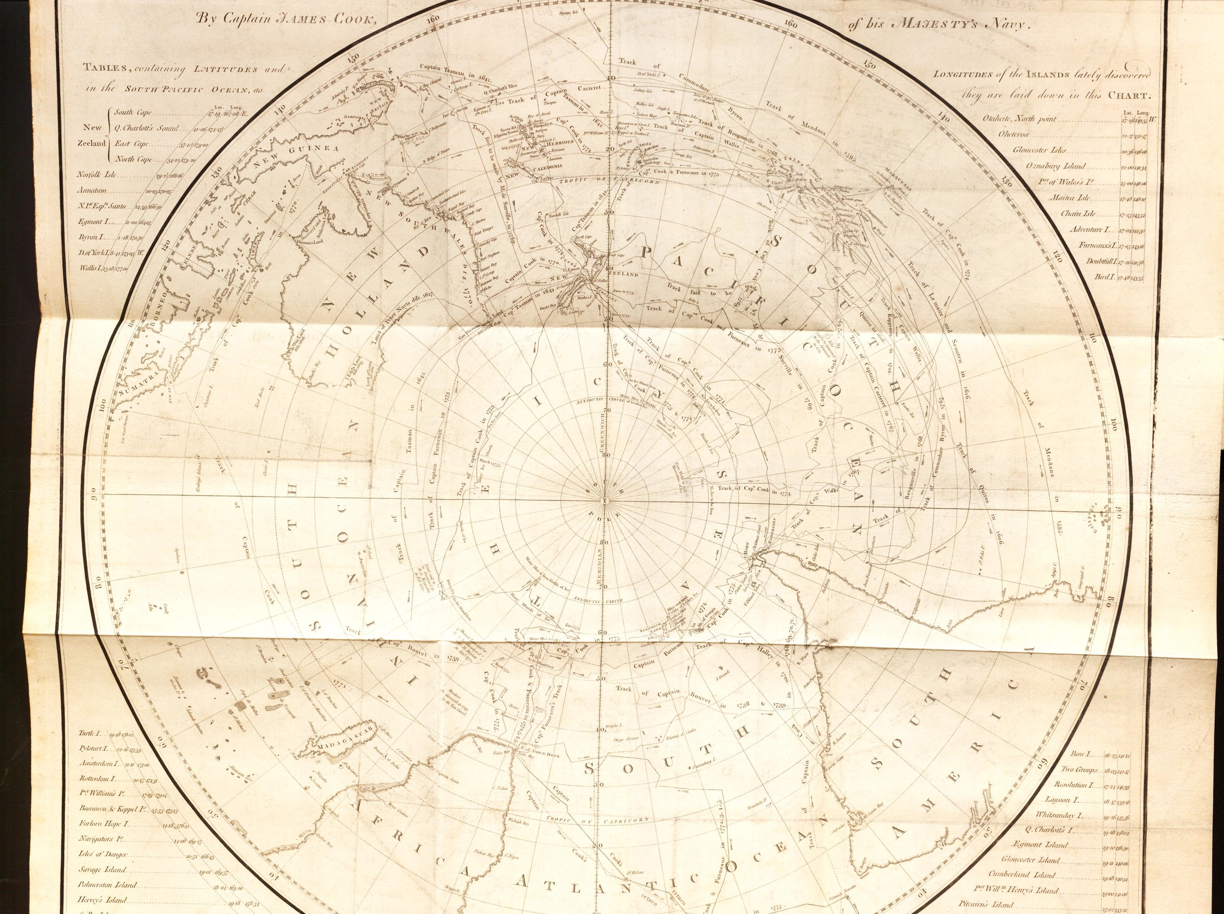 Cook's chart of the Southern Hemisphere, sans Antarctica because Cook never reached it. Aside from the missing continent, the map is quite accurate.