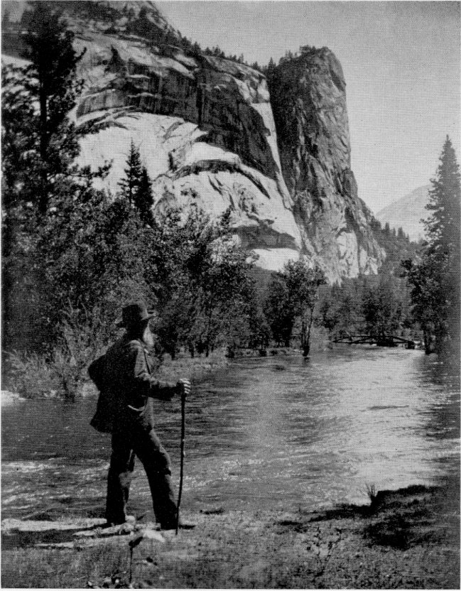 John Muir near Royal Arches in the Yosemite Valley. Photo from the NPS, via the  Yosemite Conservancy .