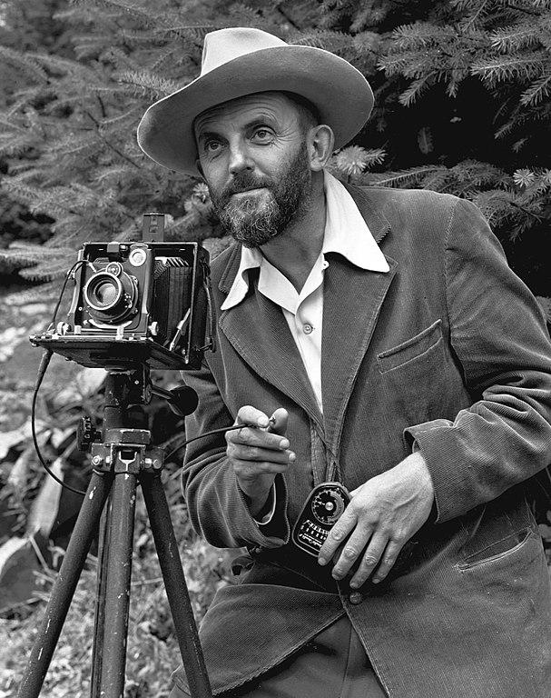 Ansel Adams in Yosemite, circa 1950. Image by J. Malcolm Greany.