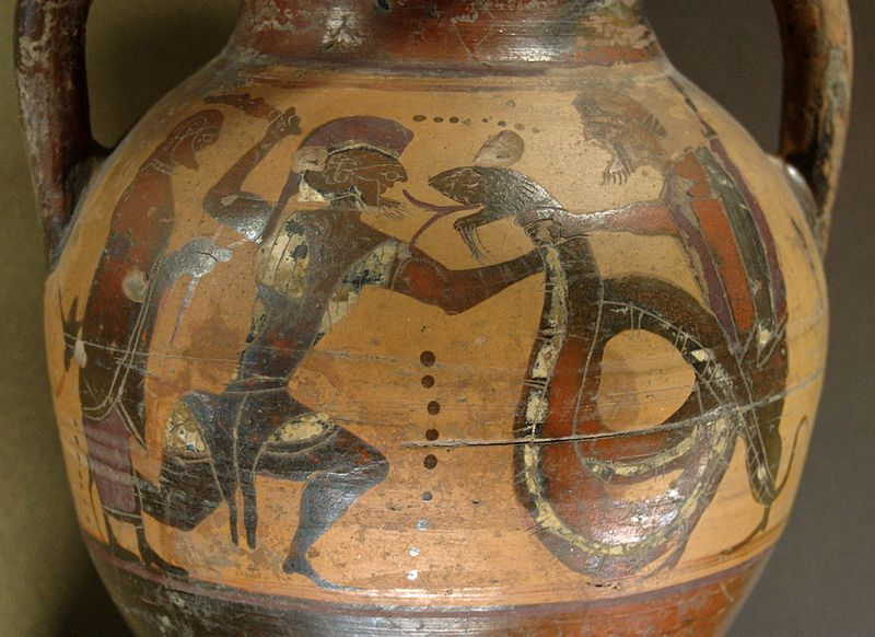 Ancient Greek amphora showing the hero Cadmus fighting a dragon.