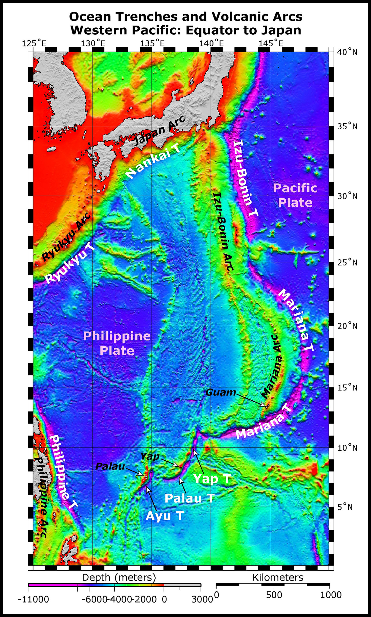 Map of the seafloor in the southwestern Pacific, showing the Mariana Trench. Image from    NOAA   .