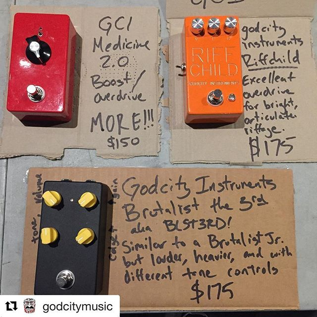 #Repost @godcitymusic (@get_repost) ・・・ 12/8/17 @Converge tour with @pilemusic and @givemusical starts tonight at @brighton_music. I'll be slinging short run and prototype pedals as much as I can on this tour. Tonight I have 3 offerings. Cash only. Medicine 2 stage Jfet/Mosfet boost/overdrive.  Riffchild is a bright, articulate overdrive ideal for thrashy rock tones. I use a version of this circuit on stage. BLST3RD is the next generation of Brutalist Jr. it's a super heavy distortion that can be anywhere from sludgy to biting. #godcityinstruments #medicineboost #riffchild #blst3rd