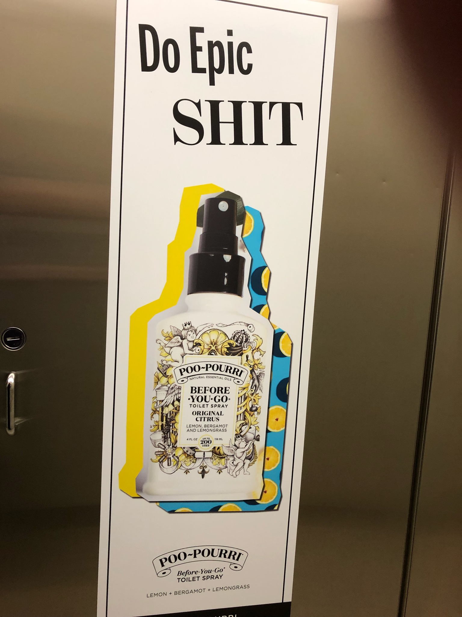 Poo-Pourri's consistent branding was present in the restrooms at the Women of Innovation series at Dallas Startup Week.
