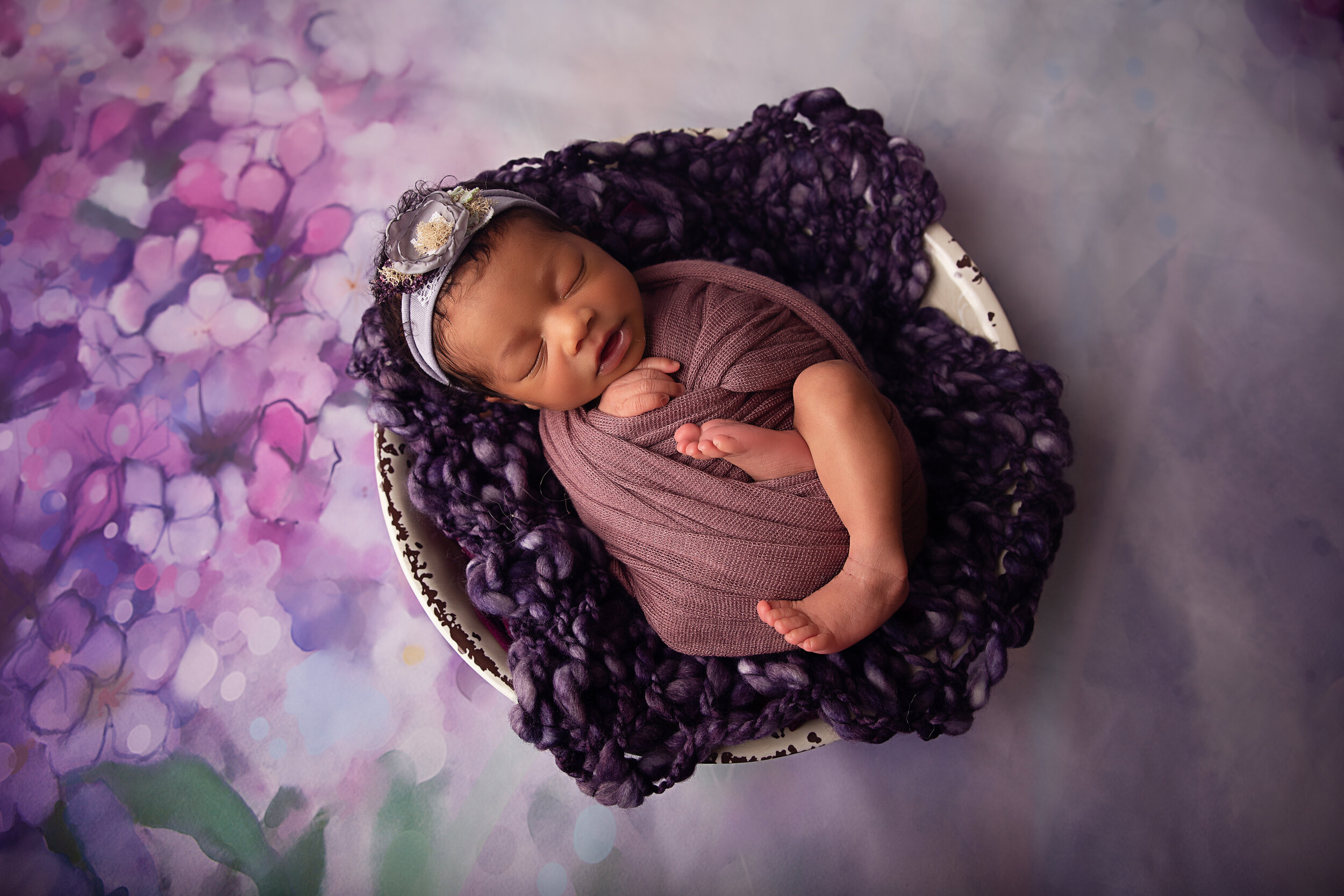 Newborn Baby Girl Purple Florals In Bowl.jpg