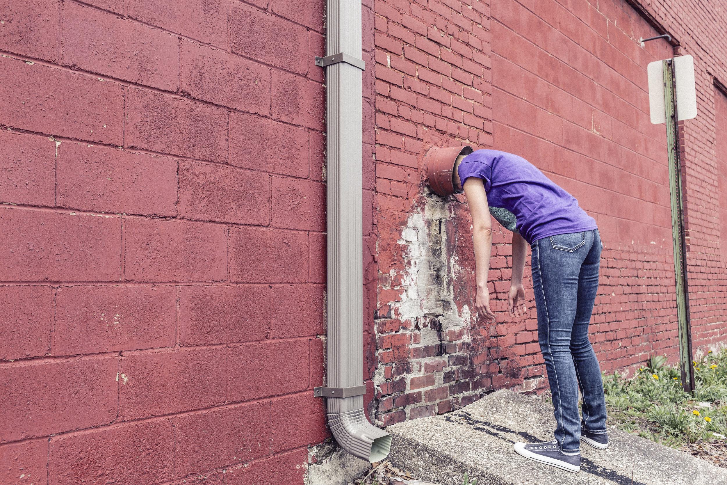 women against a wall