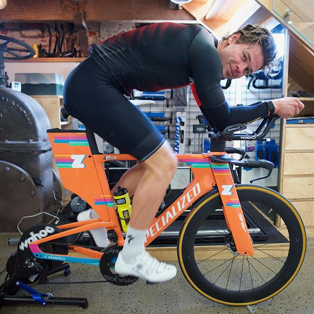 Spent some time with @levihauwert fine tuning his position for Kona. Only tiny changes this time of year...but every little 1% counts. I have lots of arguments with Levi about the merits of power+open chest   aero. I think I'm winning the war...#ironman #konahawaii