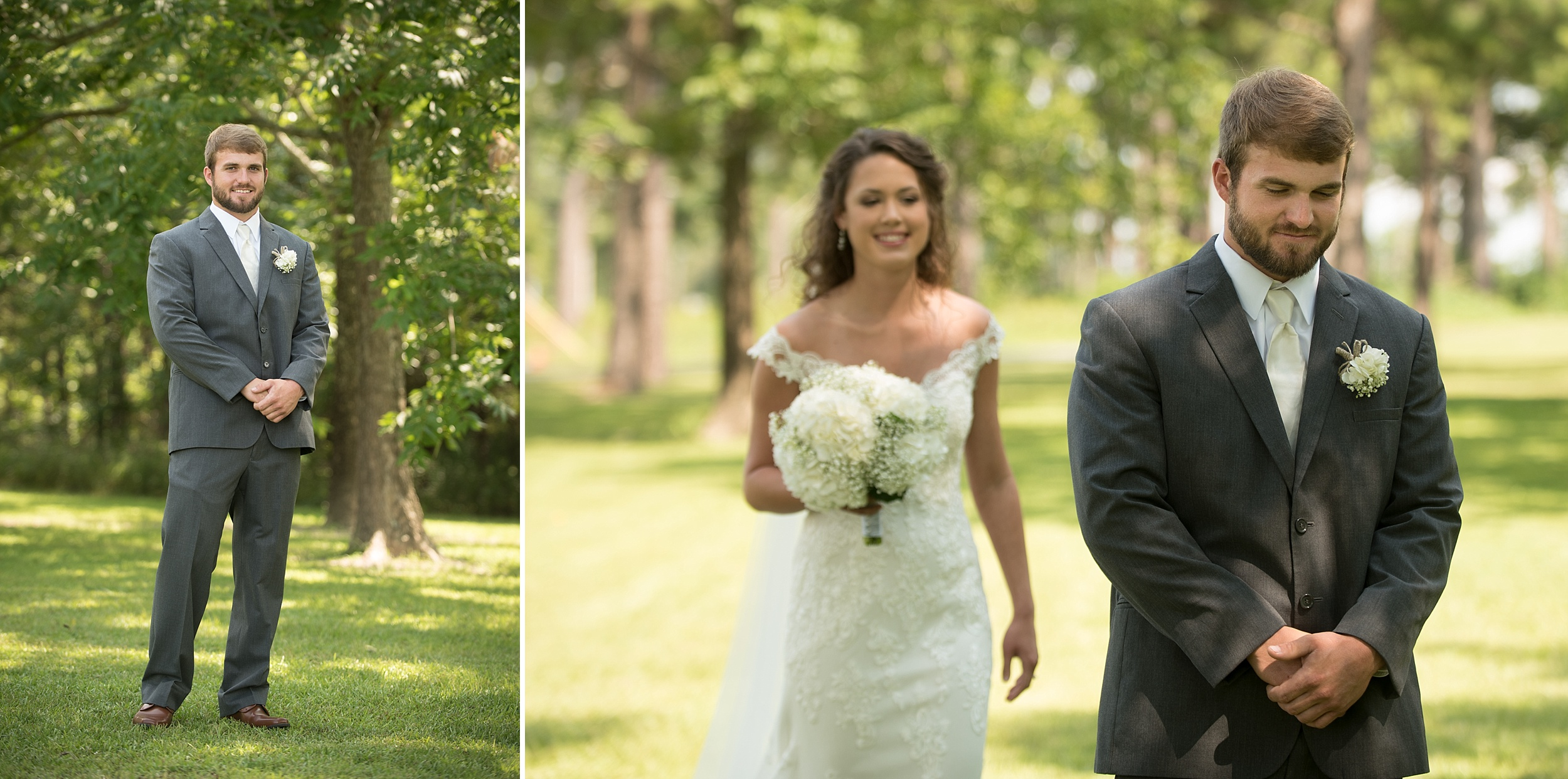 groom waits to see bride for the first look under beautiful green pecan trees