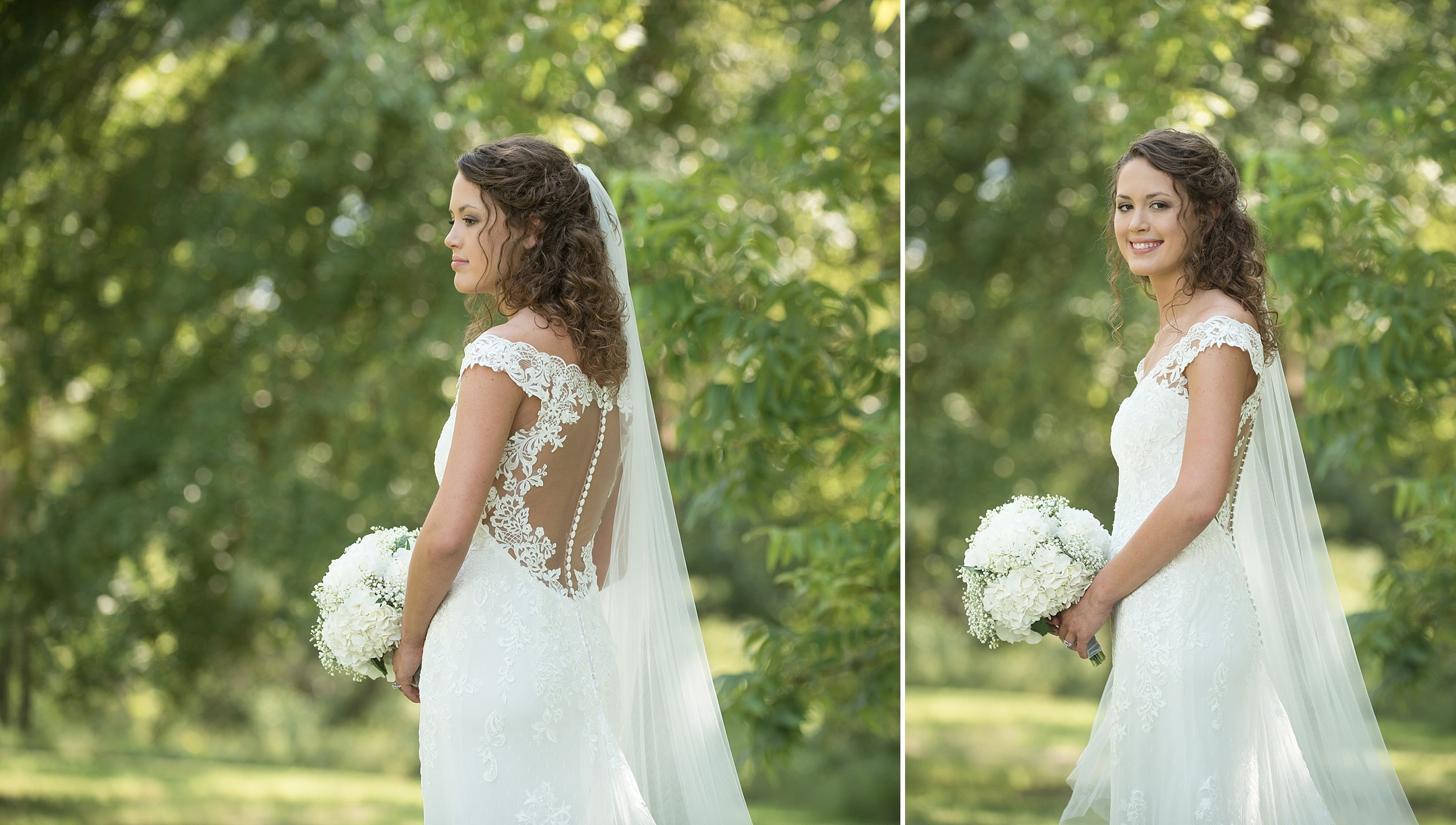 view of the back of a stunning open back wedding dress with white buttons