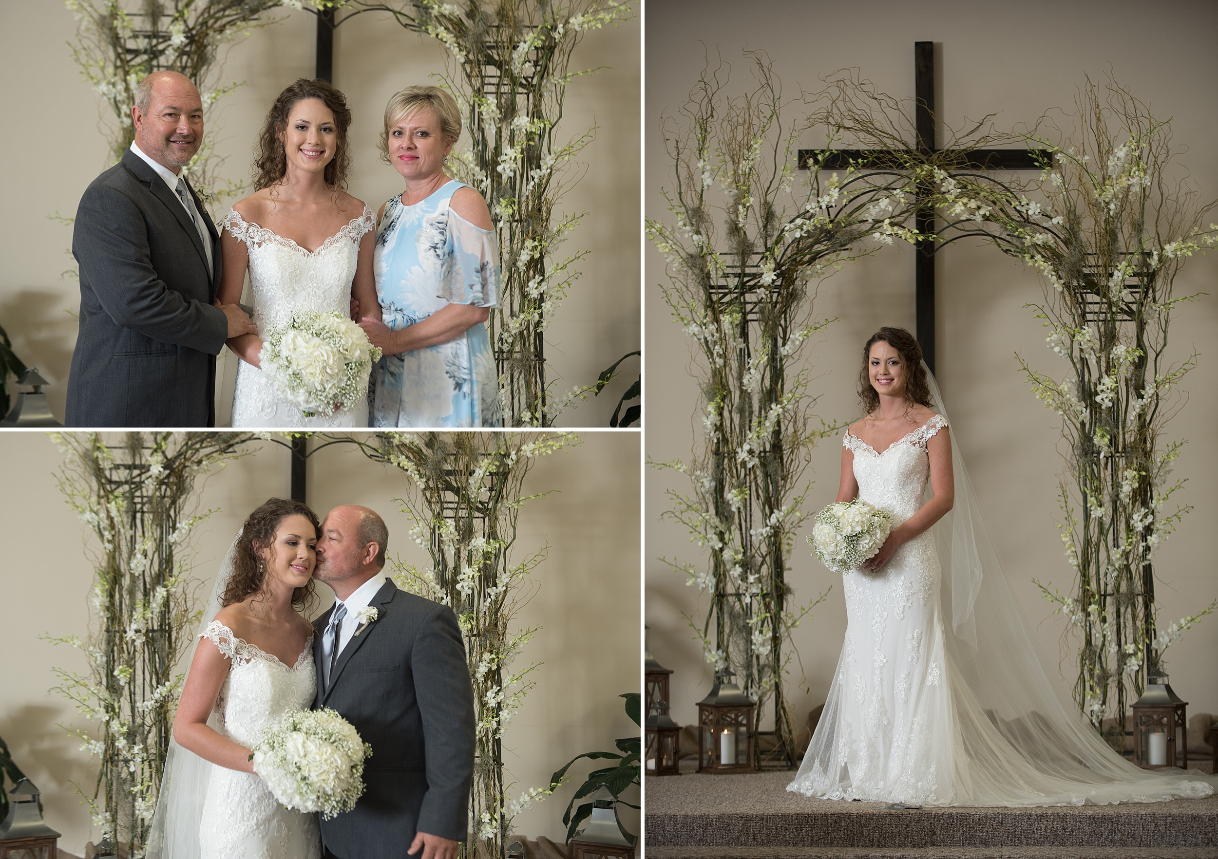 glamorous bride with her mother and father