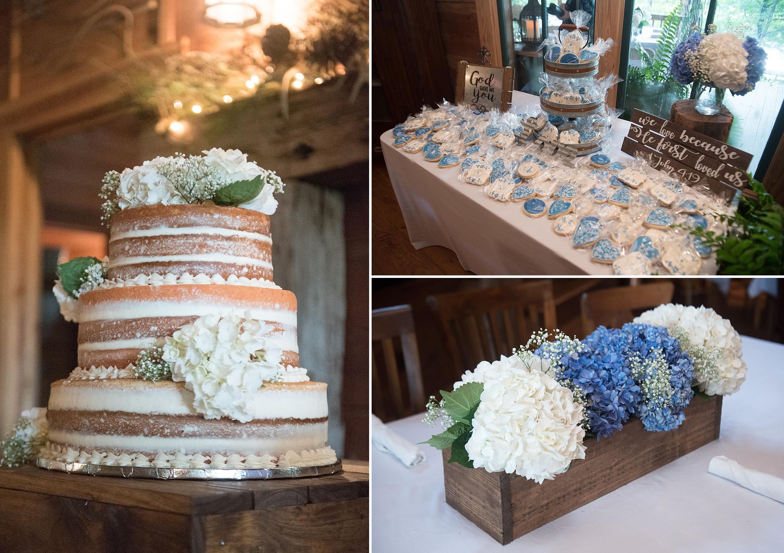 naked wedding cake decorated with white hydrangeas