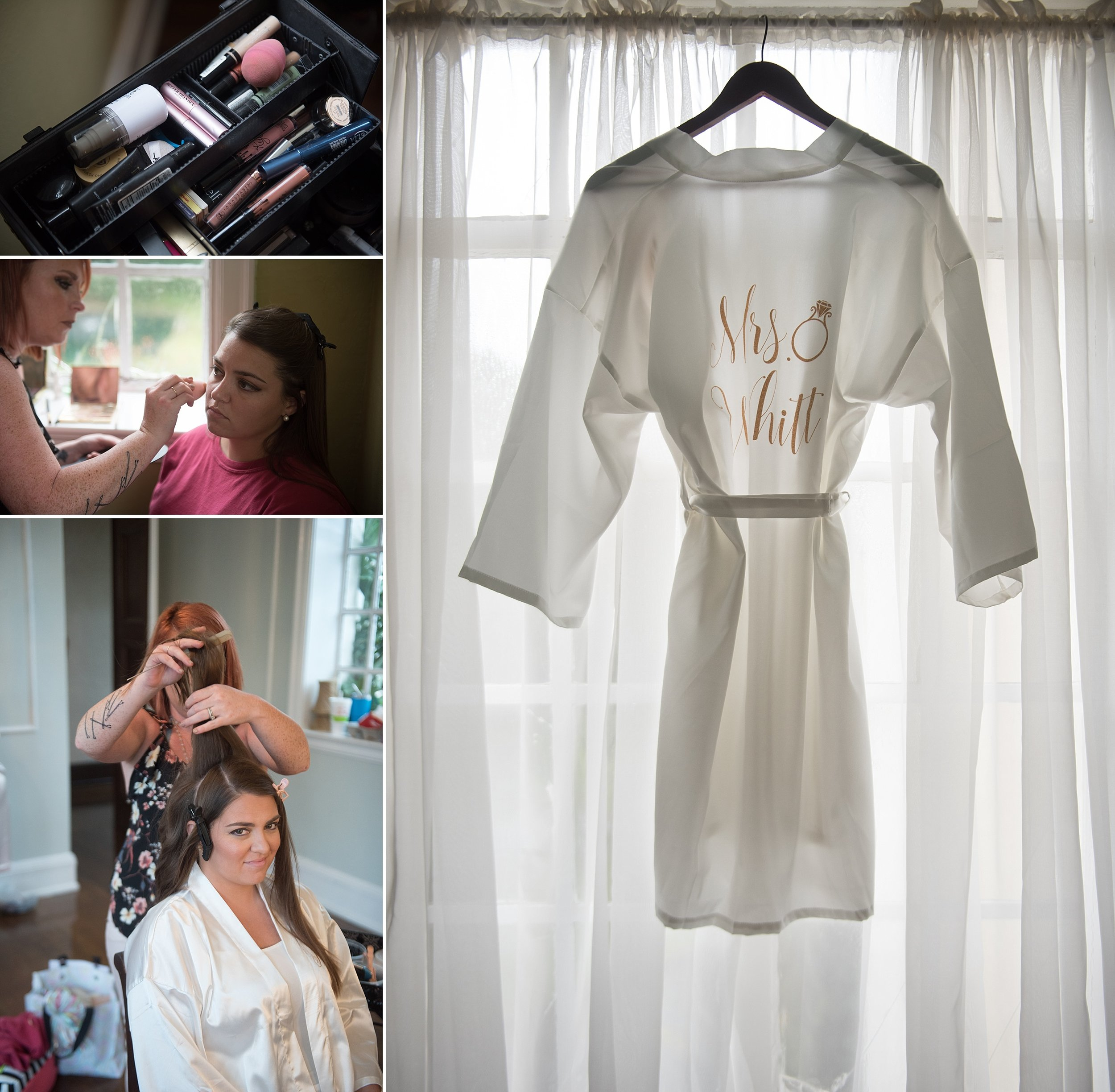 Brides gets her hair done on her wedding day