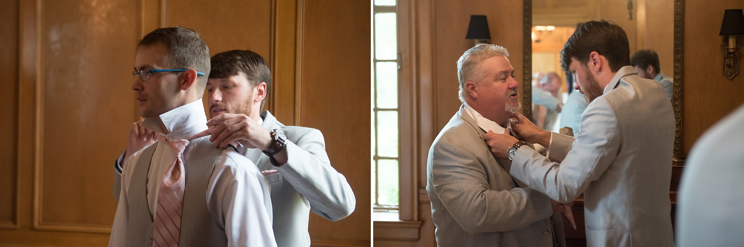 Groom helps father of the bride with his tie