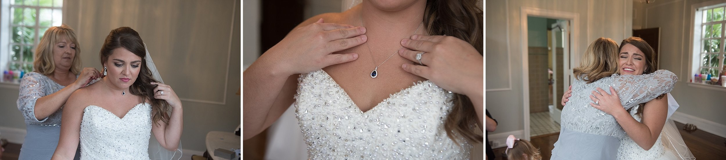 Mother of the bride gives Bride a sapphire necklace