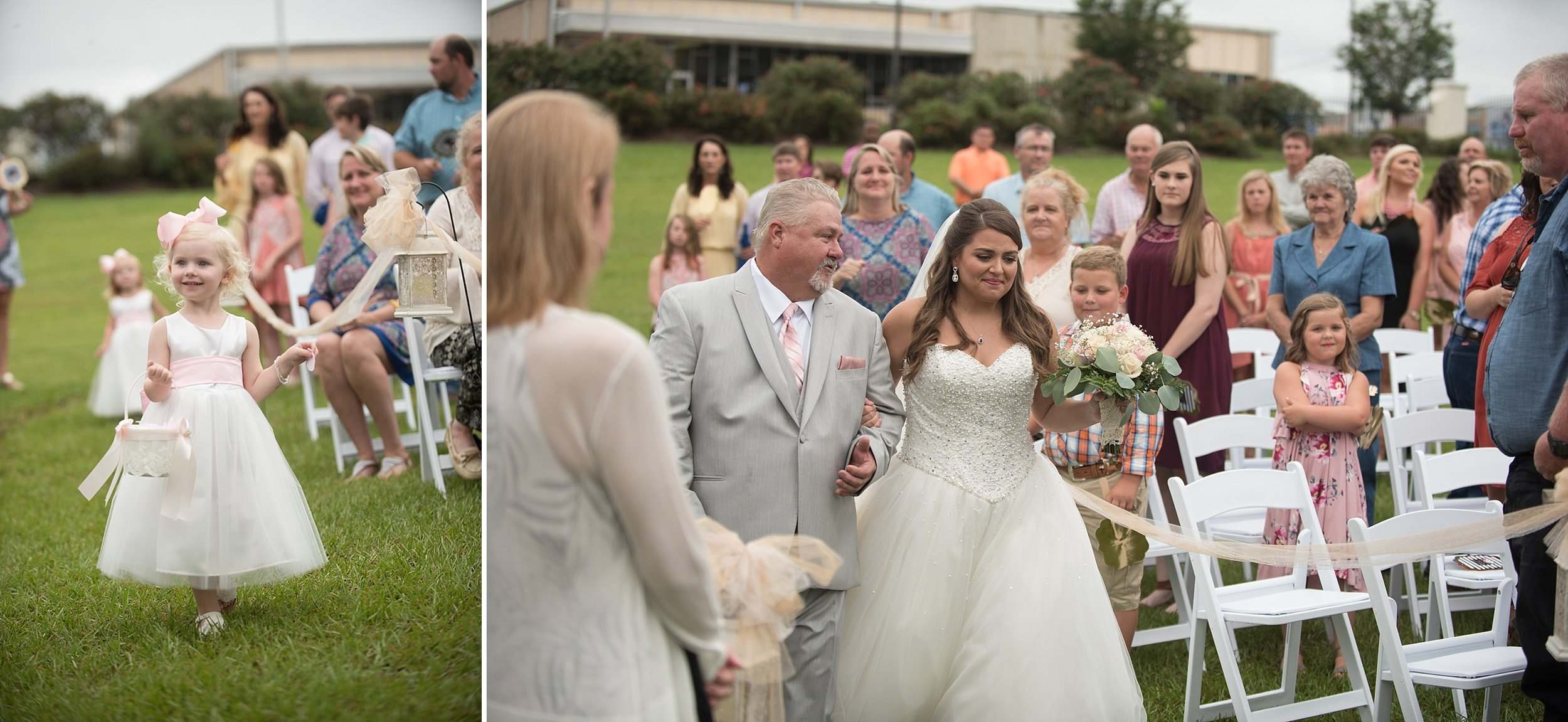 Father of the Bride escorts his daughter down the aisle