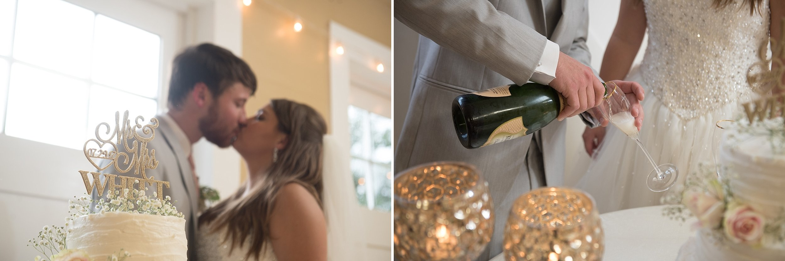 groom pours champagne for wedding toast