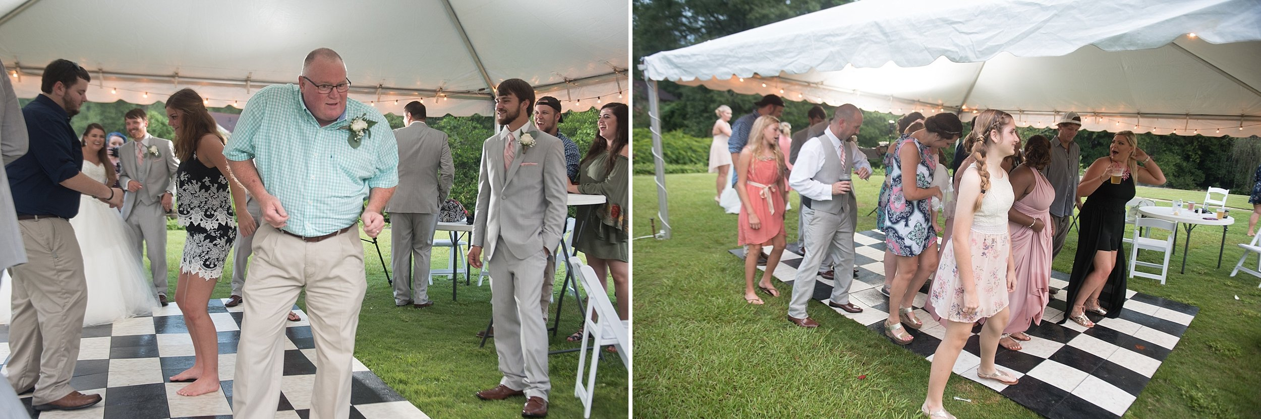 wedding guests show their dances moves