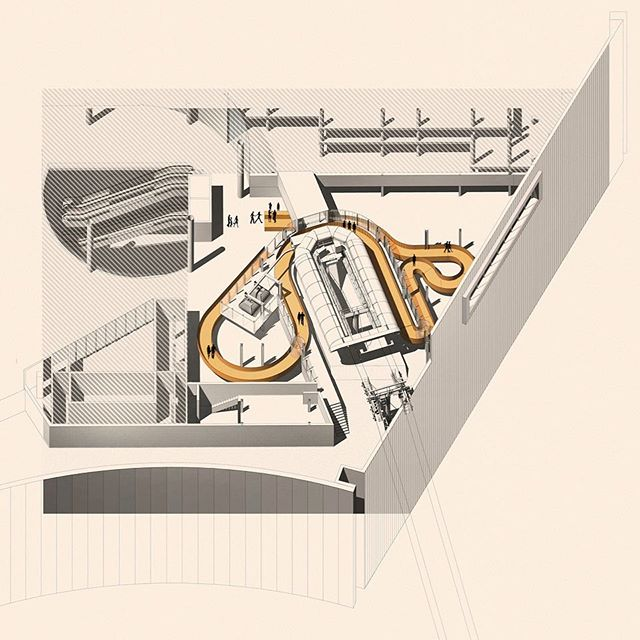 1/3: The 120+m long Ramp as a structuring element of the station, around which all the major functions and components of the station are consolidated - Mica Cable-car Station in Kish Island, Iran #kish #Iran #architecture #interiordesign #ramp #circulation #station #infrastructure #mobility #journey #archdaily #rooftop
