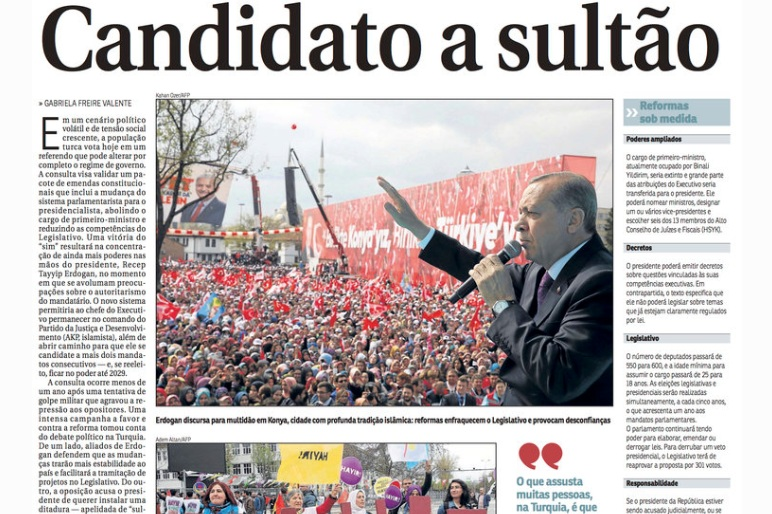 TURKISH PRESIDENTIAL REFERENDUM - I spoke to Correio Braziliense on the 2017 referendum and what it means for Turkish democracy.(April 2017)Read more here.