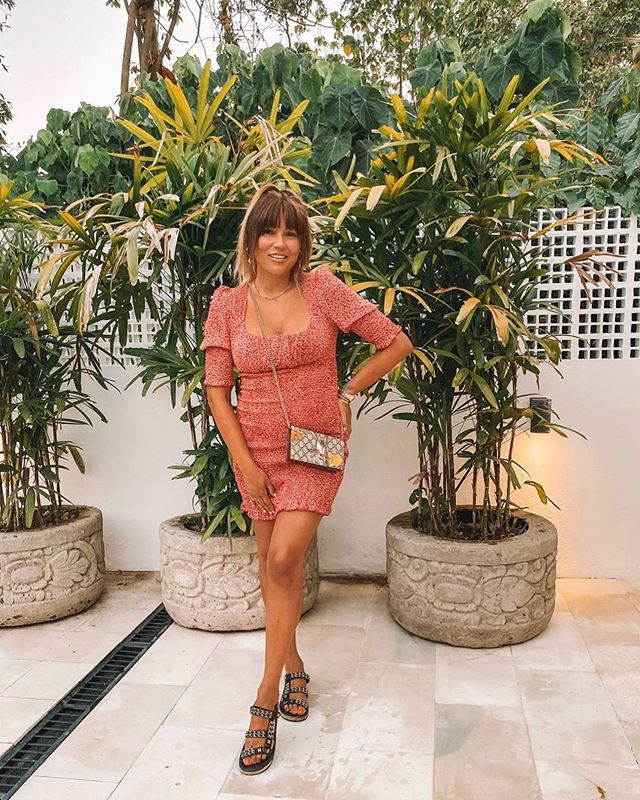 Stunning beauty @annareeve_ wearing our Betty dress in warmer days ☀️ this sold out dress is now up online fore preorder with free shipping for the next week xx