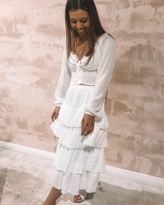 Beautiful Cass is looking angelic in our new arrivals!! She is wearing our new Isabelle Top and @rowiethelabel Poem skirt (top online Monday!)