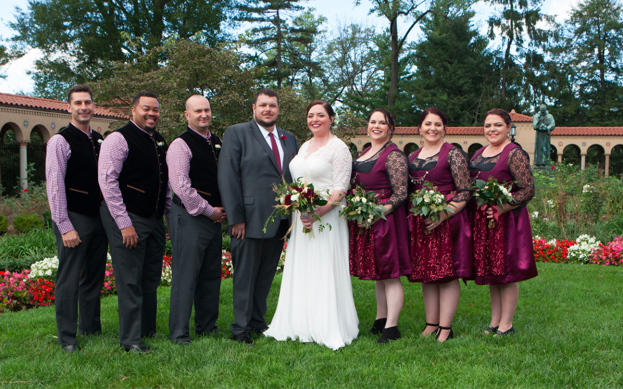 DC Wedding // Bridal party in St. Francis Hall gardens