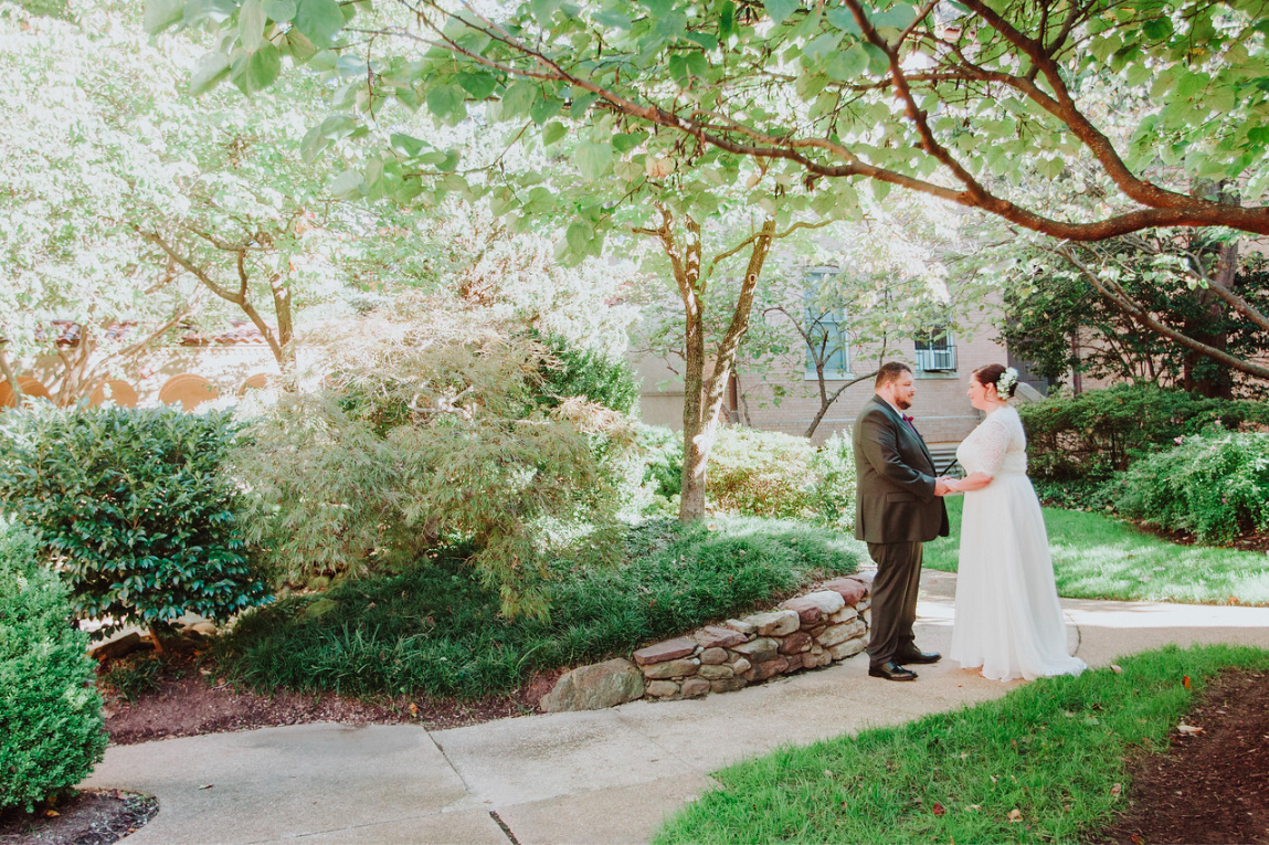 DC Wedding // First look in St. Francis Hall gardens