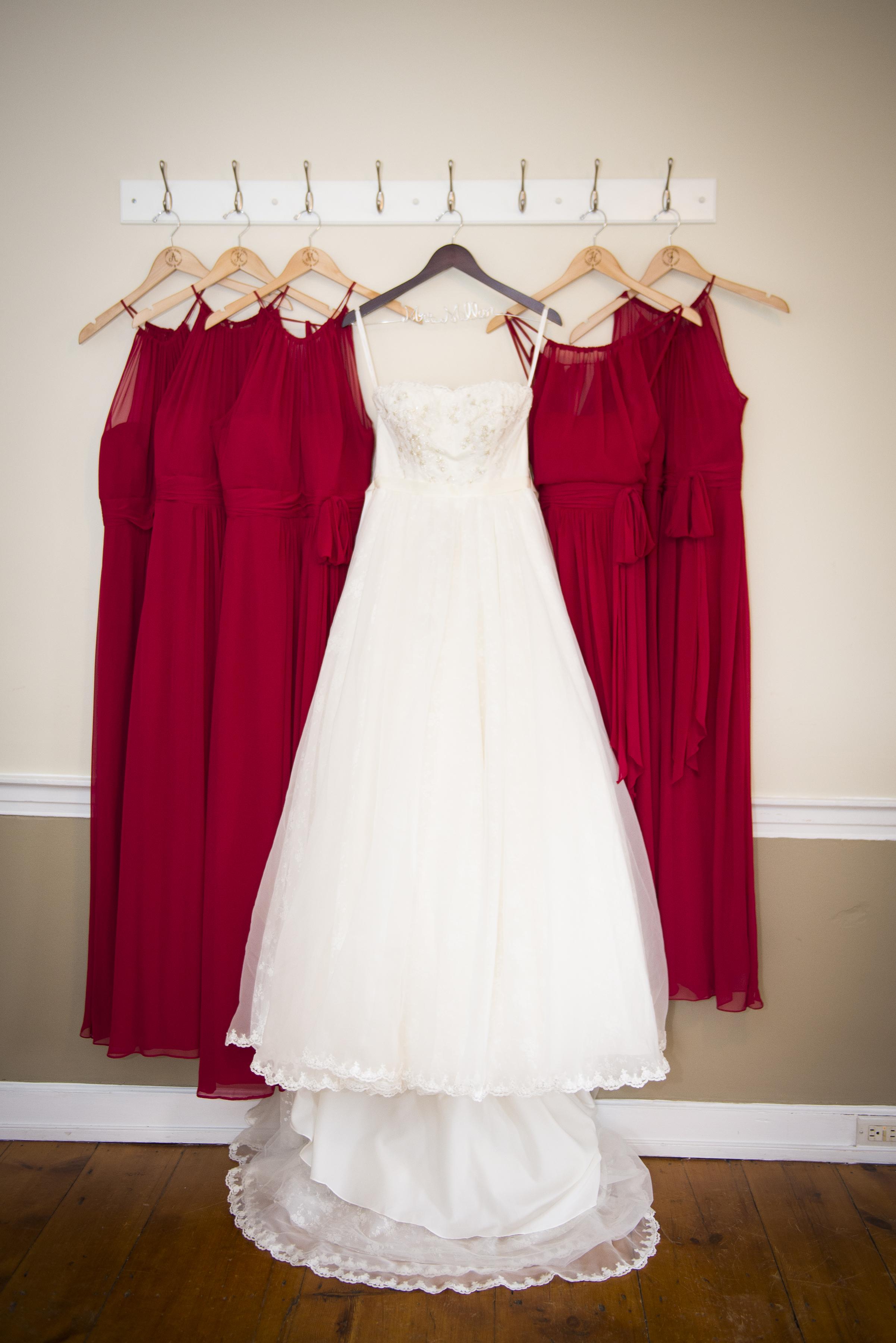 Cranberry bridesmaids dresses // The Miner Details weddings