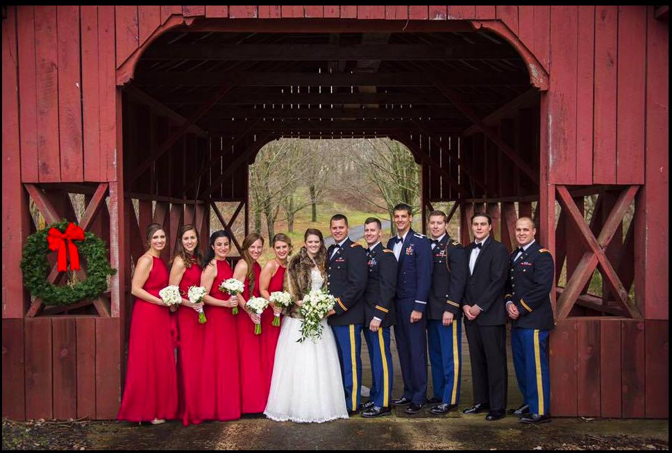 Winter wedding covered bridge // The Miner Details wedding