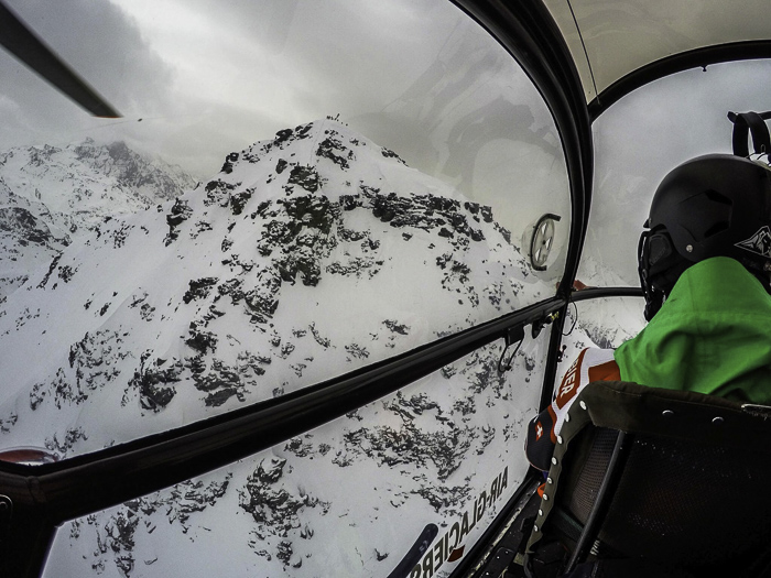 The heli ride up to the formidable Bec De Rossa competition face