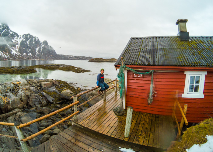 Sophie outside the converted fisherman's cabin we stayed in at Svinoya, Svolvaer. Photo: Pete Oswald