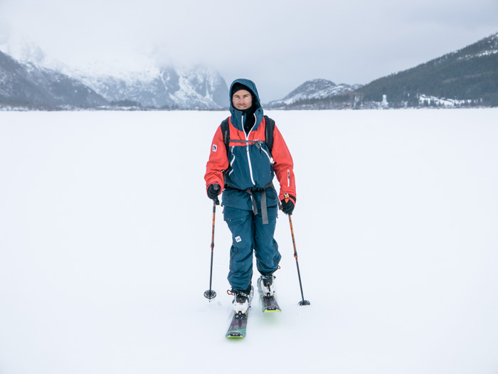 Pete ready for any conditions on a frozen lake in Lofoten. Photo: Sophie Stevens