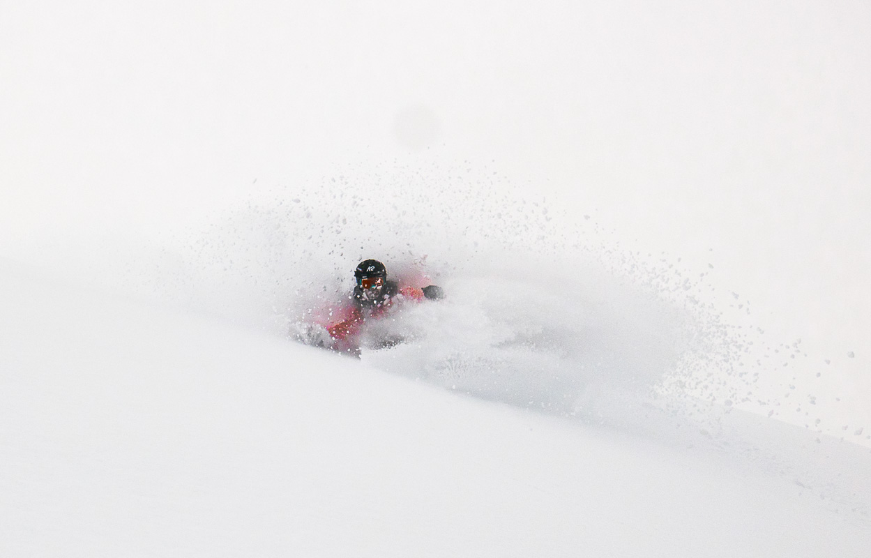 Pete getting pitted in Baker Pow, well earned after the hike. Photo: Sophie Stevens