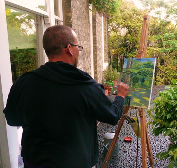 Painting in my friend Paul's garden.
