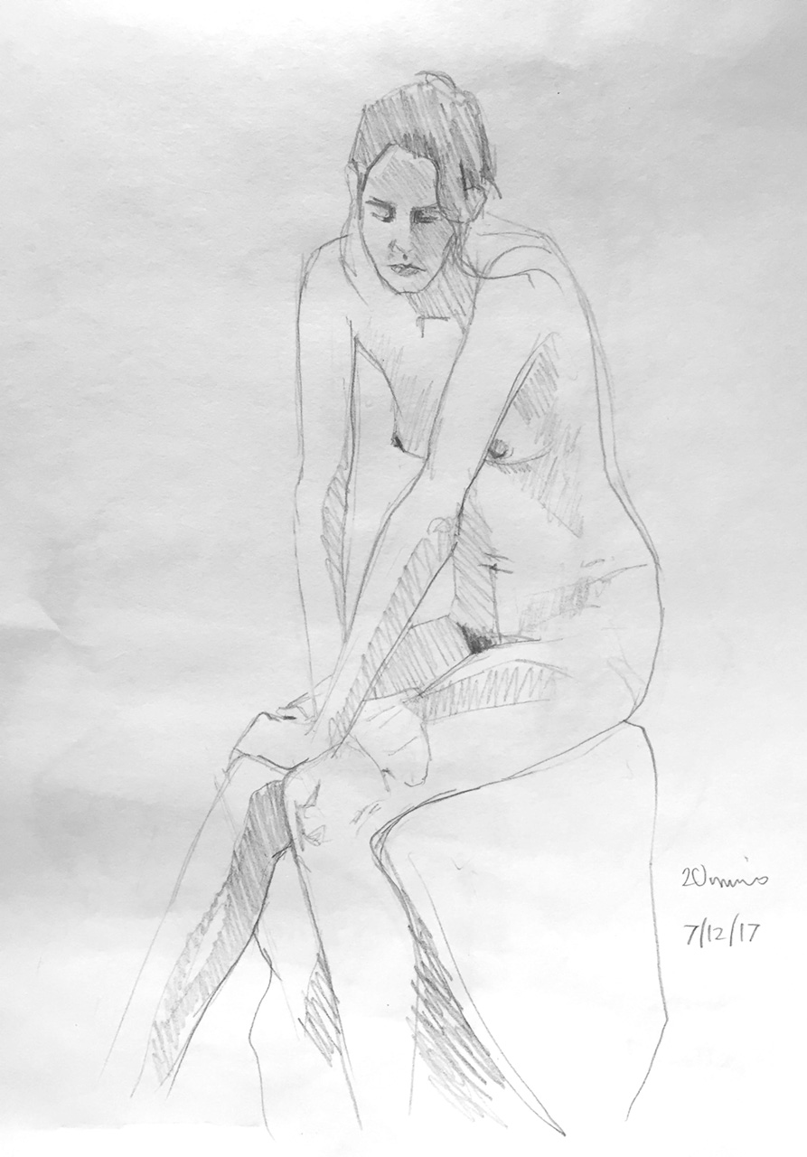 Life Drawing Sketch 1,  7/12/18