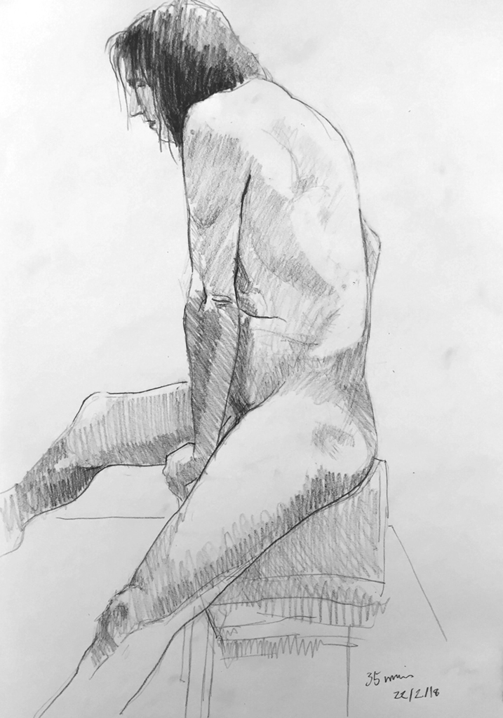 Life Drawing Session Sketch 3, 22/2/18