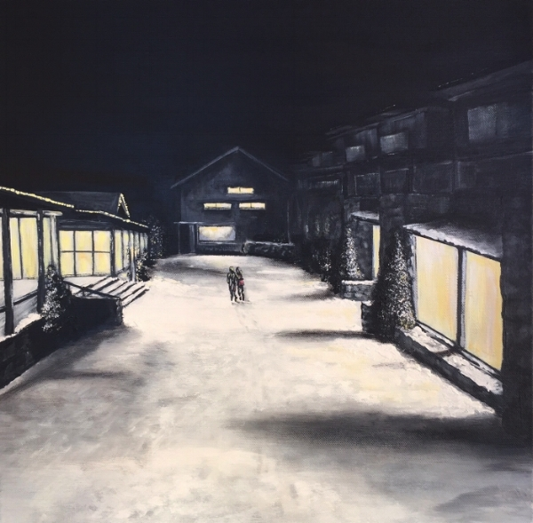 'Thredbo At Night' Acrylic on canvas 45cm x 45cm FOR SALE