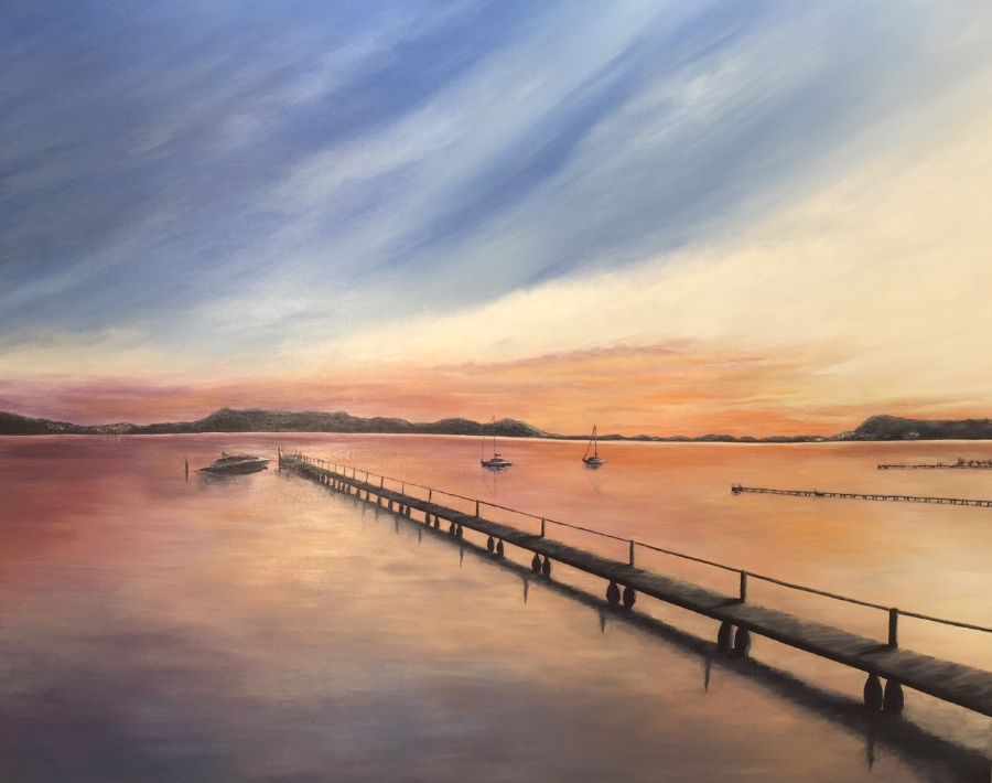 Brisbane Water Sunset, Acrylic on canvas 200cm x 150cm Commission SOLD