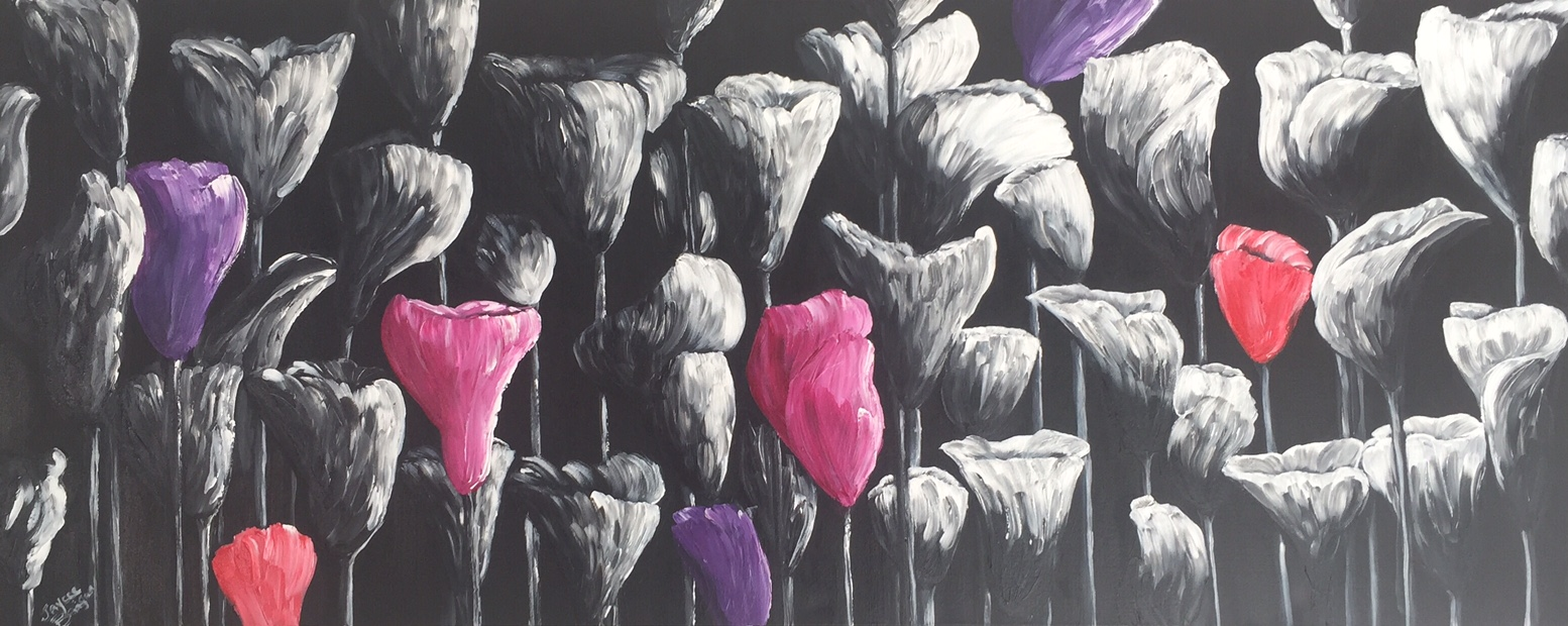 'Splash of Lillies' Acrylic on canvas 150cm x 60cm FOR SALE