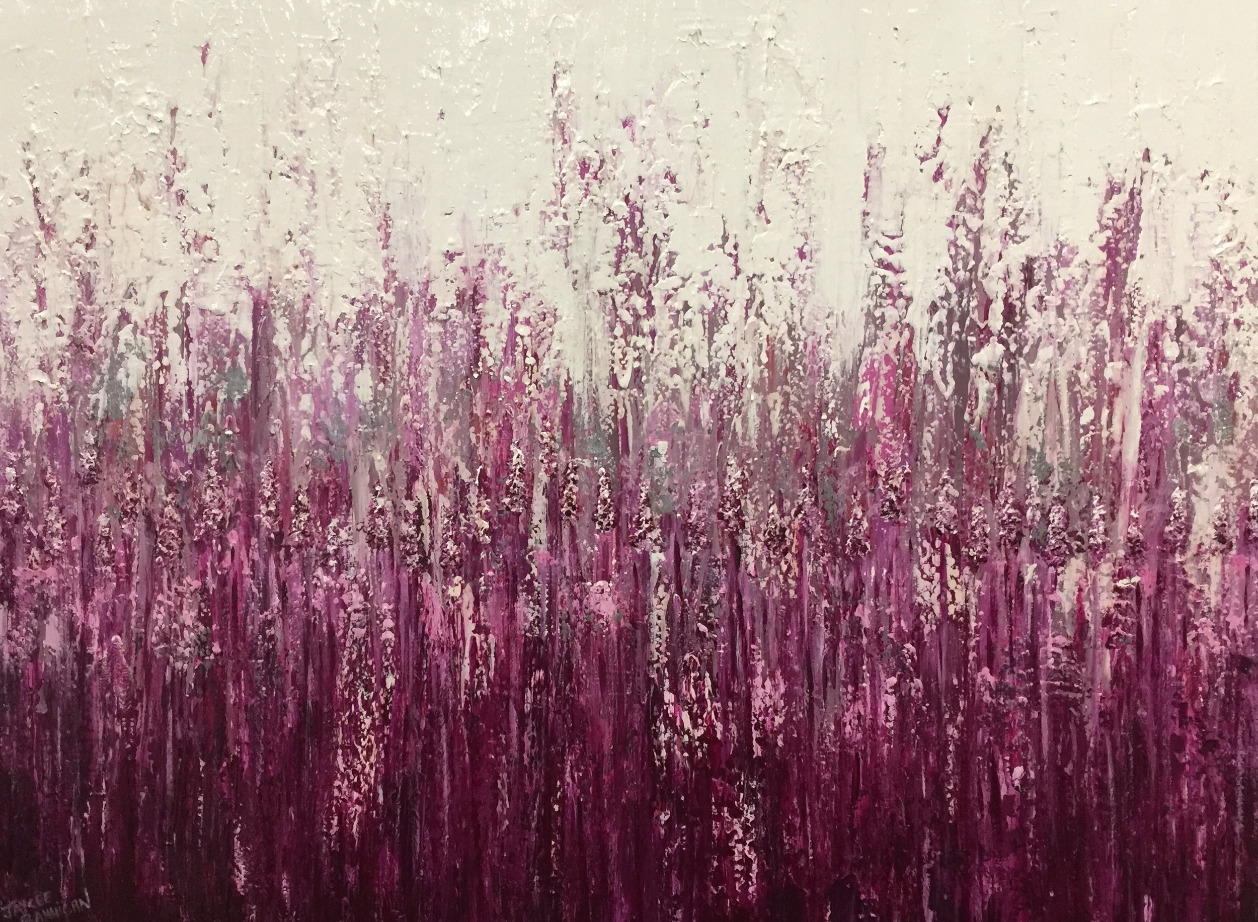 'Fields of Magenta' Acrylic on canvas 102cm x 97cm FOR SALE