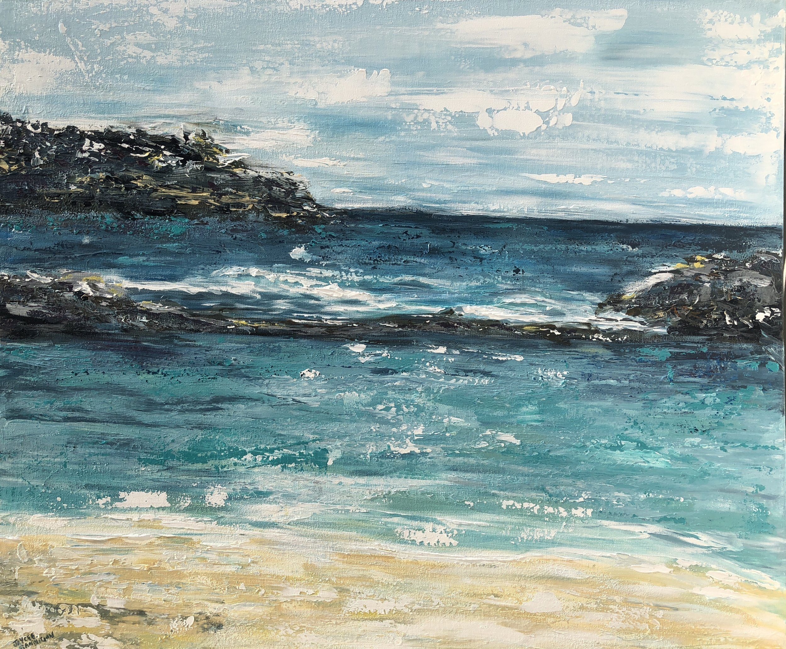 'Whale Beach Rock Pool' Acrylic on Strectched canvas FOR SALE