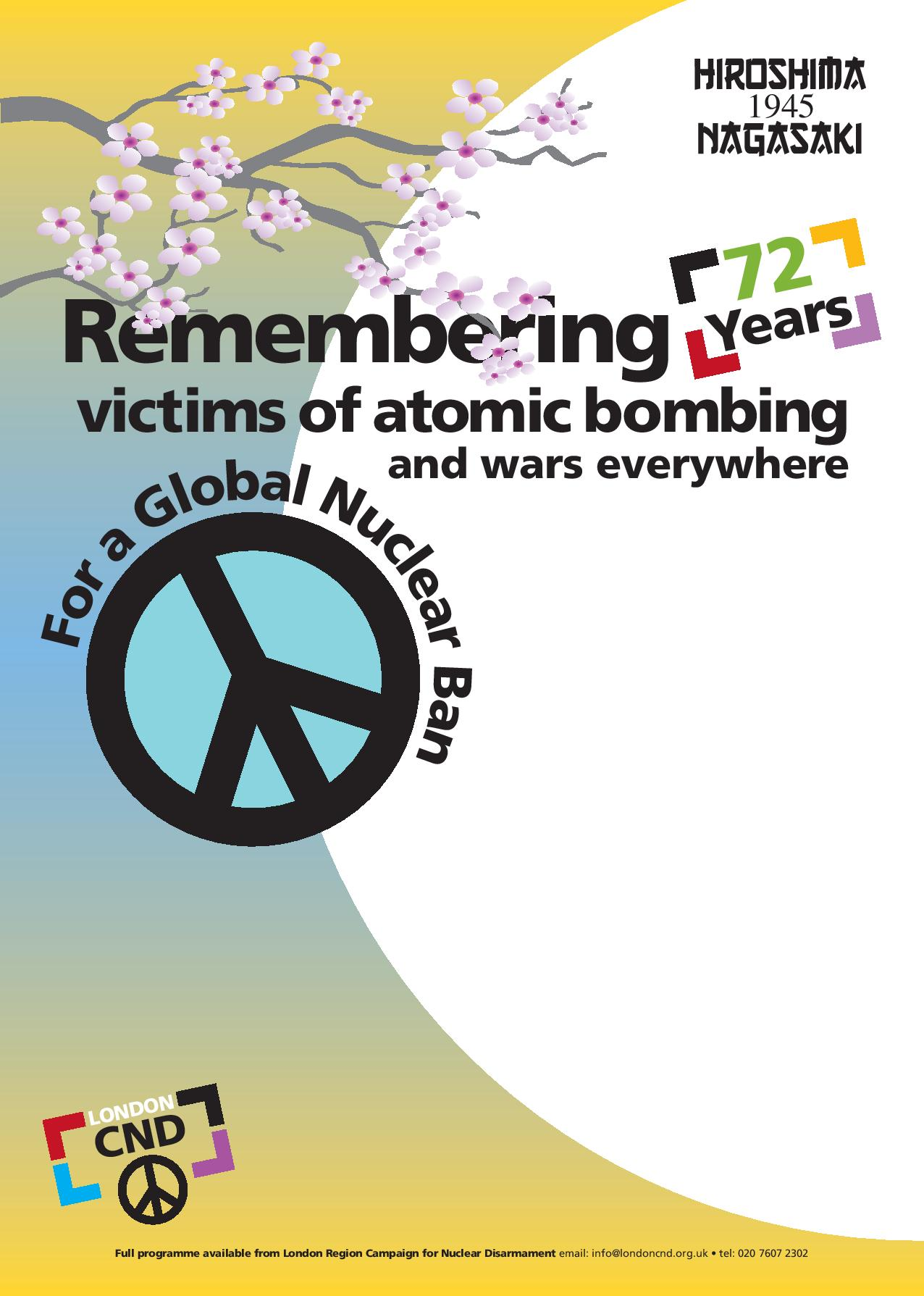 Download 2017 Hiroshima and Nagasaki Event Poster - AA4 poster design, left blank for you to add information about your own local events.Here is an example of how to use this template.