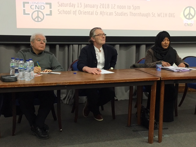 Sami Ramadani from the Iraqi Democrats, LRCND's Tom Cuthbert, and Kim Sharif, director of Human Rights for Yemen