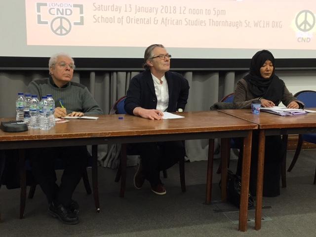 Sami Ramadani from the Iraqi Democrats, LRCND's Tom Cuthbert, and Kim Sharif, director of Human Rights for Yemen