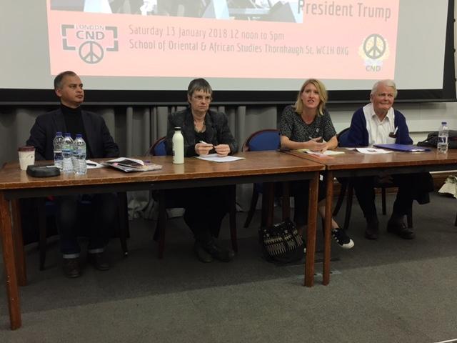Stop the War's Murad Qureshi, Green MEP Molly Scott-Cato, LRCND's Hannah Kemp-Welch, and Bruce Kent