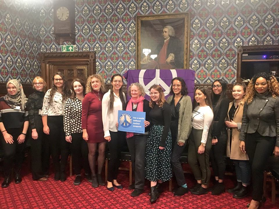 London student activists with Jenny Jones at the Houses of Parliament -