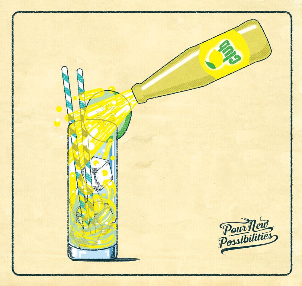 Promotional illustration for Britvic soft drinks.