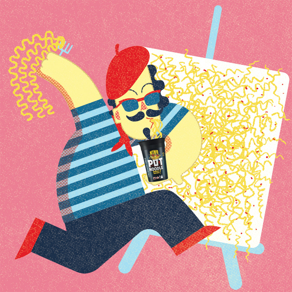 Promotional illustration for Pot Noodle marketing campaign.