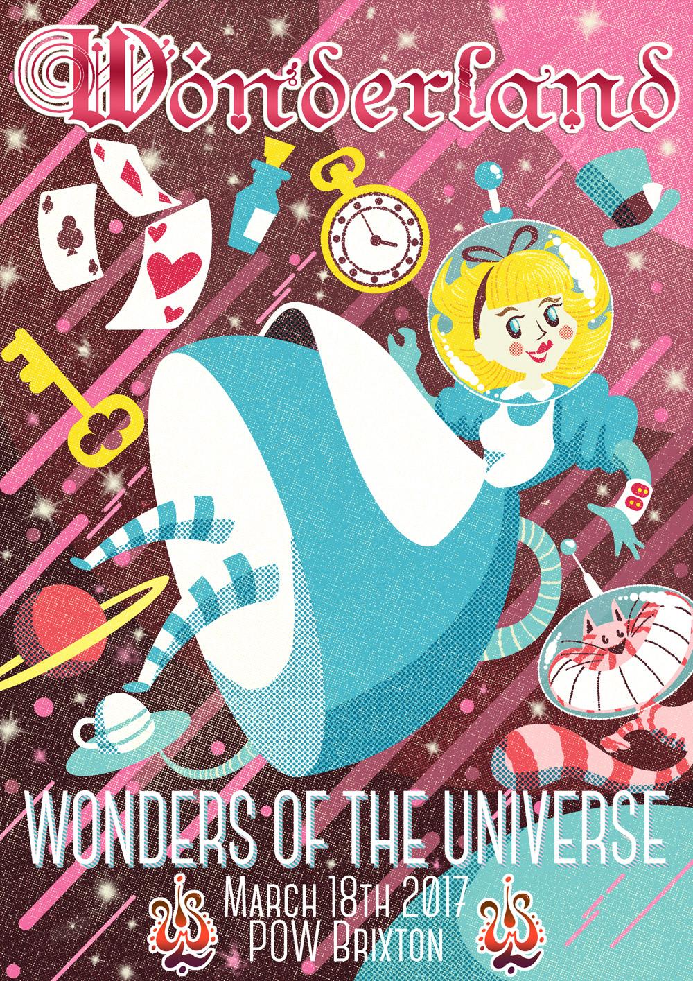 Illustrated promo flyer for Wonderland music festival, UK.