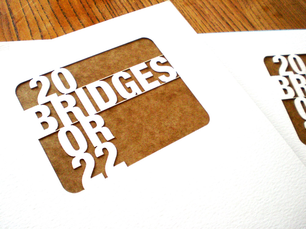 Self-initiated publication '20 Bridges or 22'. A graphic representation of the Bridges along the river Thames using the Rudyard Kipling poem 'The River's Tale' as the inspiration.